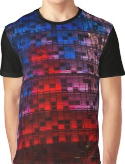 Bright Blue, Red and Pink Illumination - Agbar Tower, Barcelona, Catalonia, Spain Graphic T-Shirt