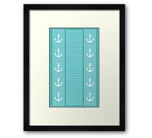 Nautical Blue and White Stripe Design Framed Print