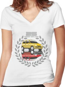Fiat Cinquecento 25 years Women's Fitted V-Neck T-Shirt