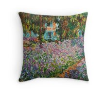 Irises in Monet's Garden - Claude Monet Throw Pillow