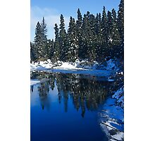Cool Blue Shadows - Riverbank Winter Forest Photographic Print