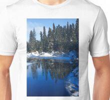 Cool Blue Shadows - Riverbank Winter Forest Unisex T-Shirt