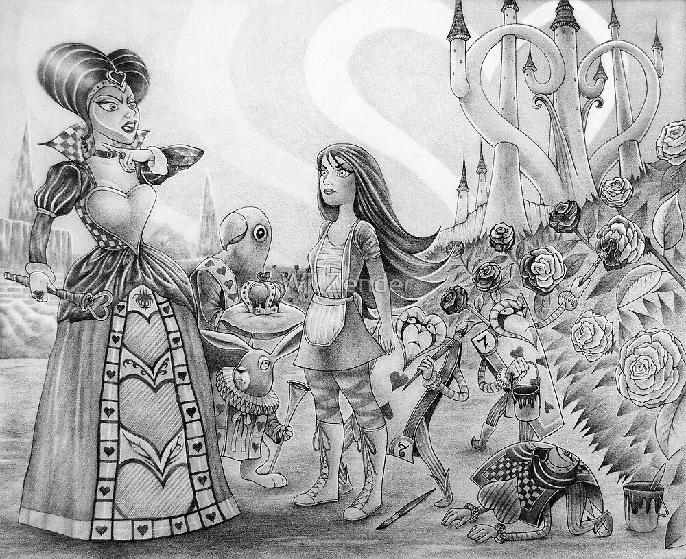 Off with their heads! (Alice and the Queen of Hearts) by Wil Zender