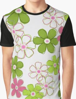 Pink and Green Floral Design Graphic T-Shirt