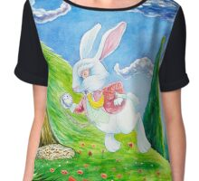 Oh dear! I shall be late! (Alice and the White Rabbit) Chiffon Top