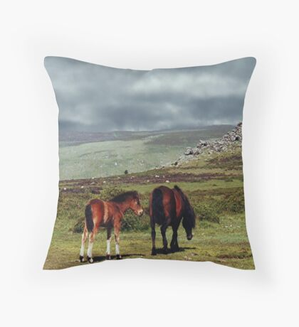 Wild Ponies, Dartmoor, Devon, England....! Throw Pillow