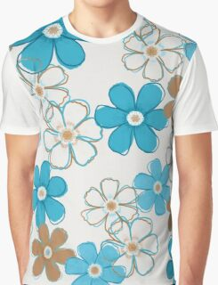 Blue and Brown Floral Design Graphic T-Shirt