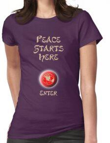 Peace Button Shirt Womens Fitted T-Shirt