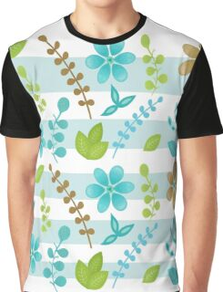 Floral Design with Stripes Graphic T-Shirt