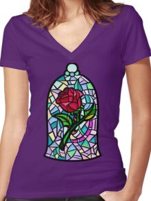 Rose of Enchantment Women's Fitted V-Neck T-Shirt