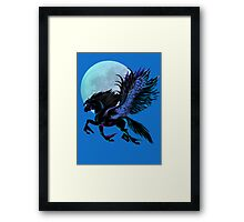 Black Pegasus and Blue Moon Framed Print