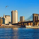Sailing Under the Brooklyn Bridge - Impressions Of Manhattan by Georgia Mizuleva