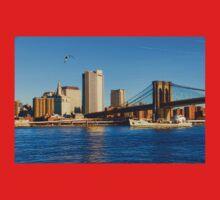 Sailing Under the Brooklyn Bridge - Impressions Of Manhattan Kids Tee