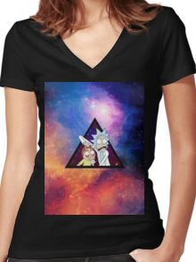 Rick and morty spaceeee. Women's Fitted V-Neck T-Shirt