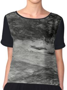Black Tempest - Abstract Ocean, Sea, Pattern in Black And White Chiffon Top