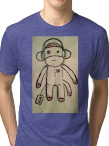 ASM (Albino Sock Monkey) #NannerManners Design Tri-blend T-Shirt