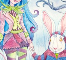 Alice and the White Rabbit, dressed as the Hatter and the Cheshire Cat for Halloween Sticker