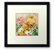 orange yellow white flower Framed Print