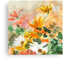 orange yellow white flower Canvas Print