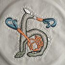 Celtic Rabbit Letter H Embroidery by Donna Huntriss