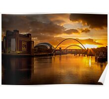 The River Tyne at Sunset Poster