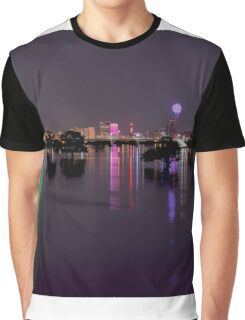 Dallas Skyline at night beyond flooded Trinity River Graphic T-Shirt