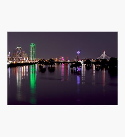 Dallas Skyline at night beyond flooded Trinity River Photographic Print