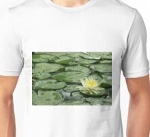 Yellow Water Lily on Lily Pads after Rain Unisex T-Shirt