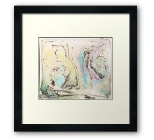 Elegant ink designs Blue yellow swirls for large format abstract wall art textile prints and decorative prints on many other items Framed Print