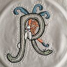 Celtic Rabbit Letter R Embroidery by Donna Huntriss