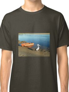 Picturesque Peaceful Pelican and Boat Classic T-Shirt