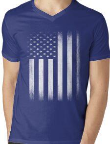 Grunge Look American Flag Mens V-Neck T-Shirt