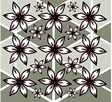 Flowers and triangular patterns Photographic Print