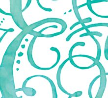 Monogram E Watercolor Turquoise Sticker