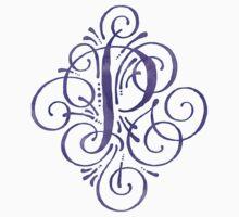 Monogram Watercolor Purple P Kids Tee