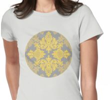 Golden Folk - doodle pattern in yellow & grey Womens Fitted T-Shirt