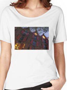Springtime Amsterdam - Bright Red Window Shutters in the Evening Breeze - Right  Women's Relaxed Fit T-Shirt