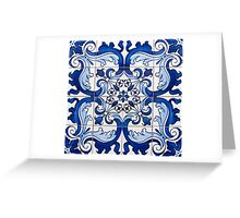 Antique Azulejo Tile Floral Pattern Greeting Card