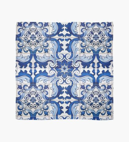 Antique Azulejo Tile Floral Pattern Scarf