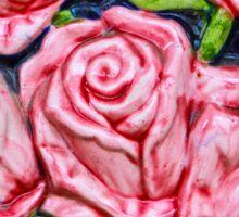 Pink Roses Majolica Floral Tile Sticker