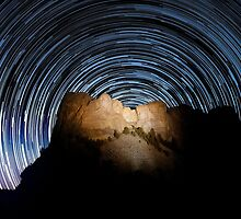 Star trails over Mount Rushmore National Memorial by Alex Preiss