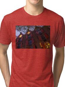 Springtime Amsterdam - Bright Red Window Shutters in the Evening Breeze - Left Tri-blend T-Shirt