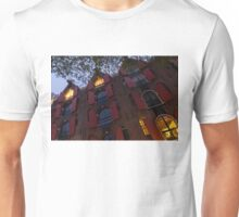 Springtime Amsterdam - Bright Red Window Shutters in the Evening Breeze - Left Unisex T-Shirt