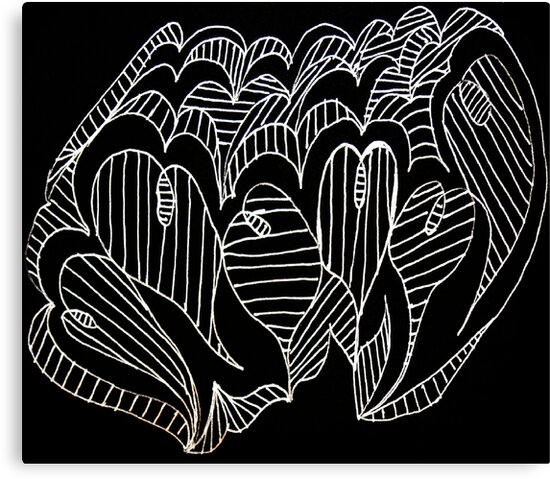 White Lined Hearts by KazM