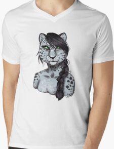 The Snow Leopard Mens V-Neck T-Shirt