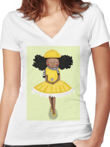 Girl in the Yellow Dress - Beatrice Ajayi  Women's Fitted V-Neck T-Shirt