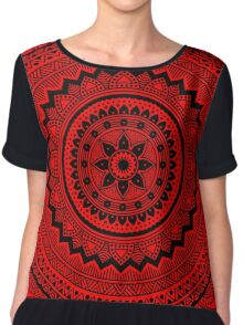 Red and black mandala Chiffon Top