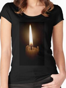 Candle Flame Women's Fitted Scoop T-Shirt