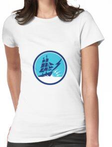 Tall Sailing Ship Lightning Bolt Circle Womens Fitted T-Shirt