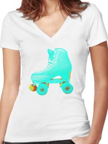 Blue Roller Skate Women's Fitted V-Neck T-Shirt